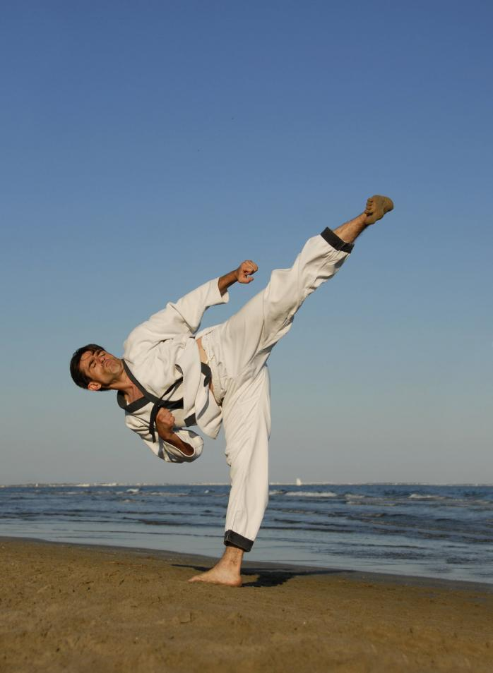 Karate on the beach - Gamesforlanguage.com