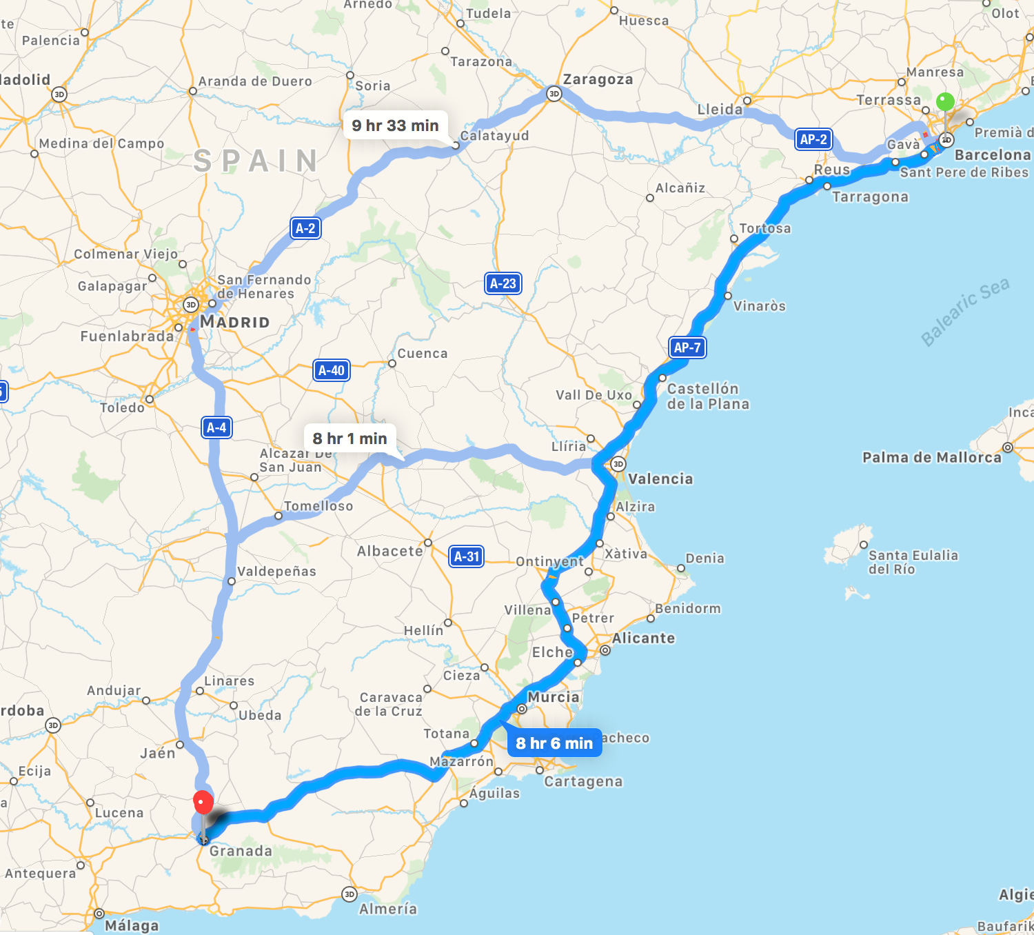 Barcelona to Granada map