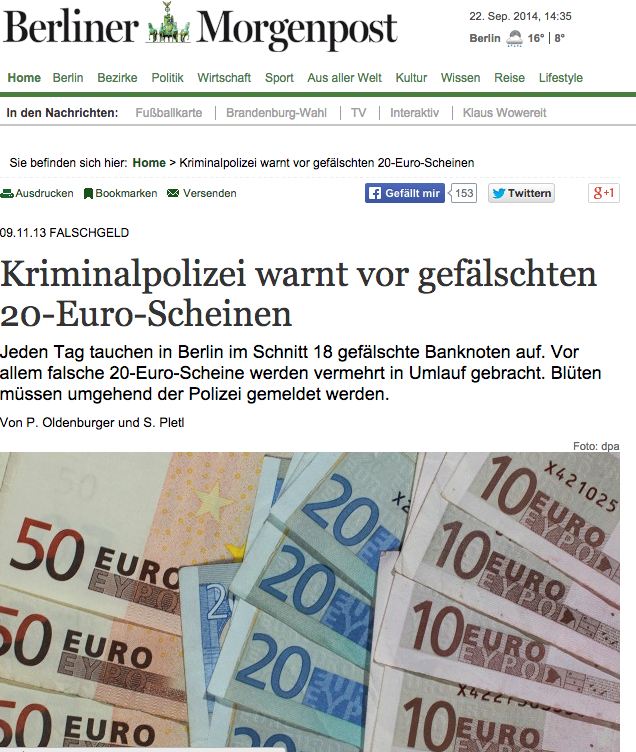 Berliner Morgenpost - First Page - November 9, 2013