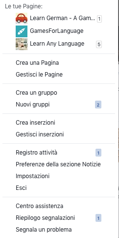 Facebook - managing your pages in Italian - Gamesforlanguage.com