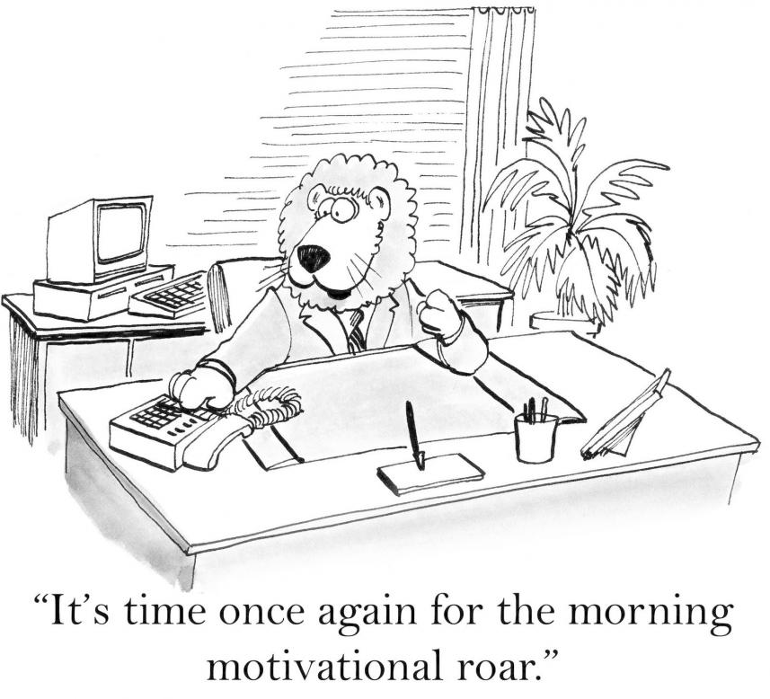 cartoon of Lion's motivational morning roar behind desk