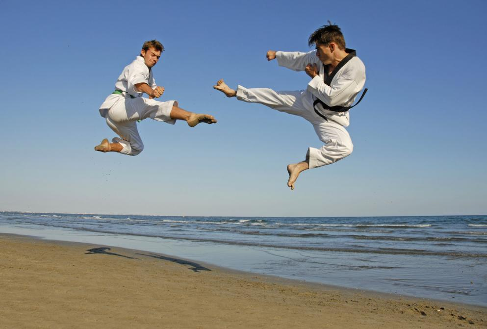 Karate experts on the beach - Gamesforlanguage.com