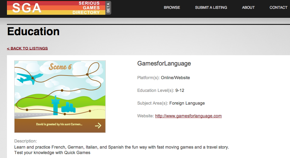 SGA - gamesforlanguage.com page