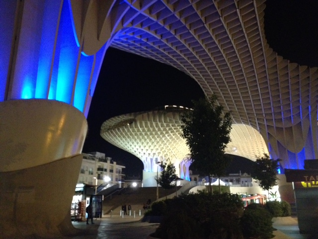 Las Setas, Seville, at night - Gamesforlanguage.com