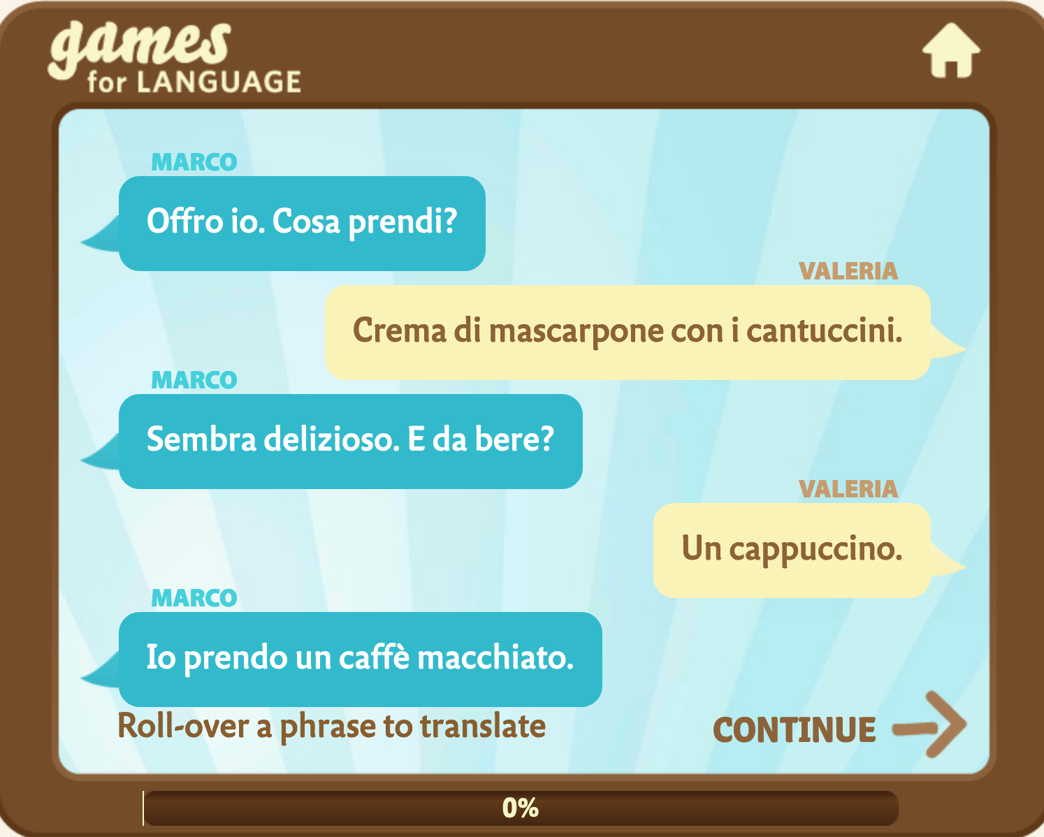Gamesforlanguage.com: In an Italian café