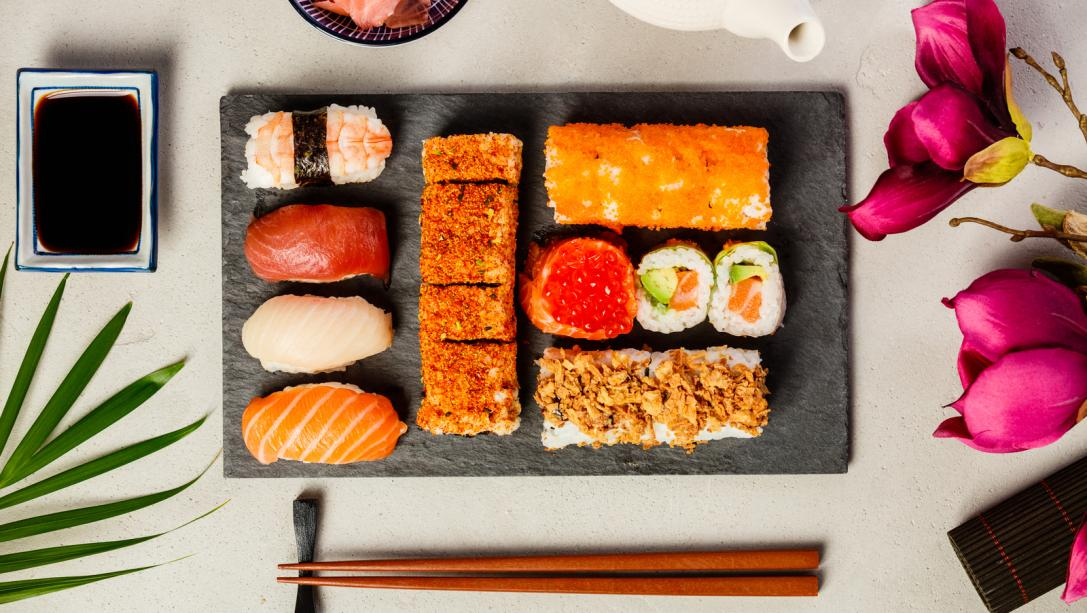 Flat lay of Sushi set