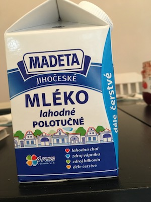 milk carton with Czech language