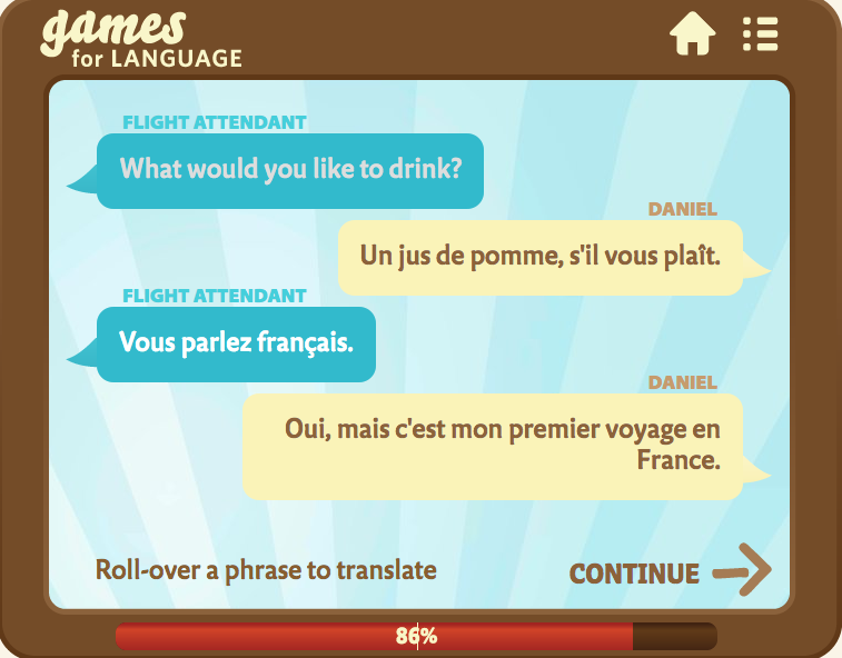 Dialogue Page, Lesson 1, French 1- Gamesforlanguage
