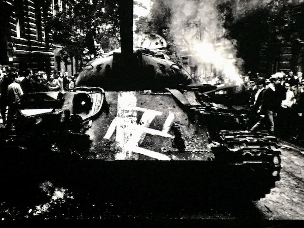 Soviet Tank in flames in Prague 1968