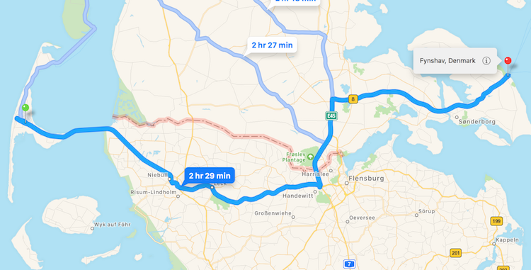 Map with travel route Sylt to Fynshav