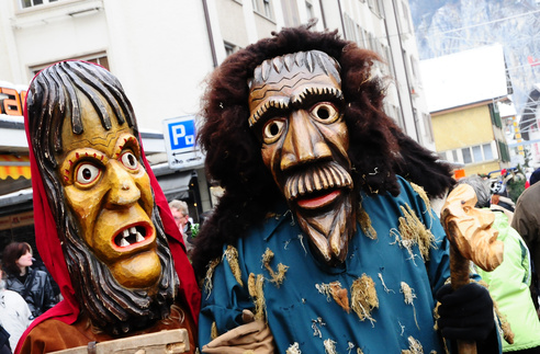 Potschen masks at Harder-Potschete in Interlaken, Switzerland