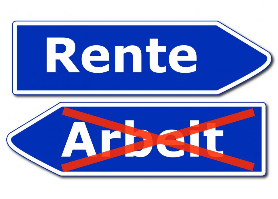 retirement - Rente sign - gamesforlanguage.com