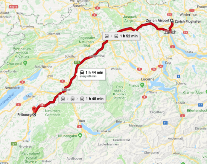 Zurich Airport - Fribourg Map