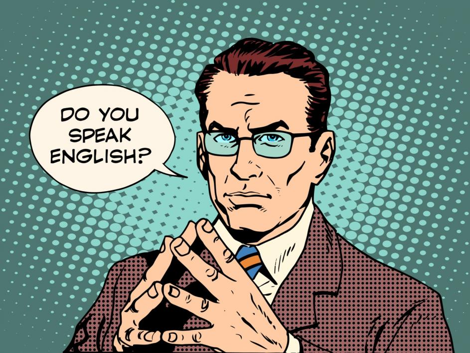 "Man asking:""Do you speak English?"""