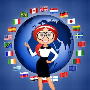 World Language with Globe, flags and young woman