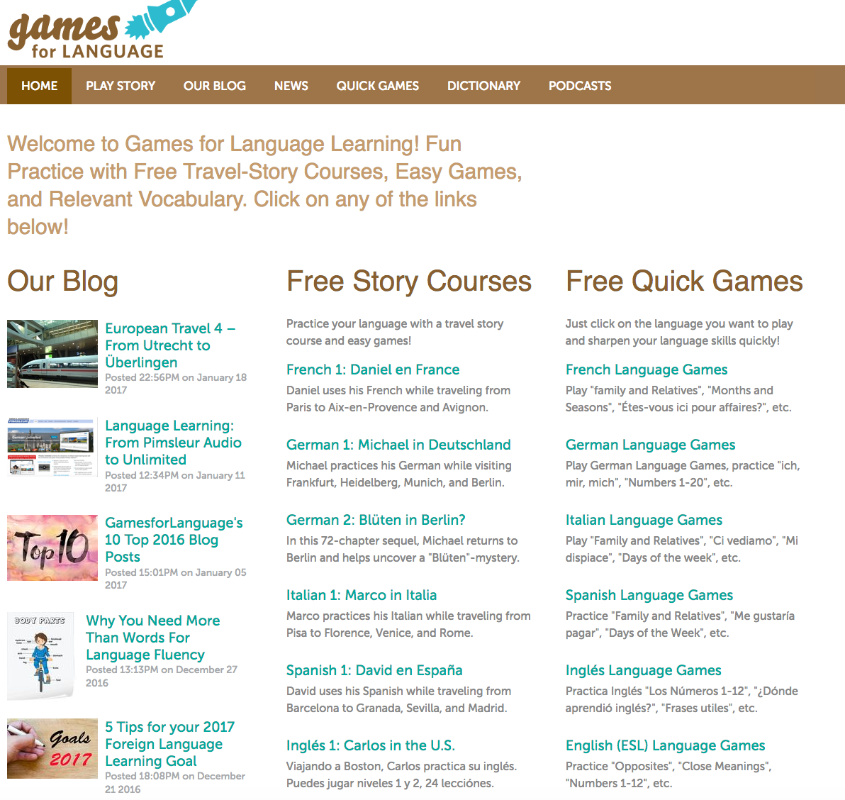 Gamesforlanguage. com Homepage