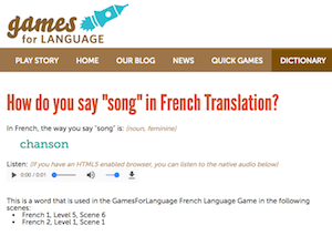 Gamesforlanguage.com dictionary song-chanson screenshot