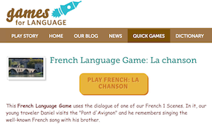 screeshot of Gamesforlanguage.com Quick Game: La chanson