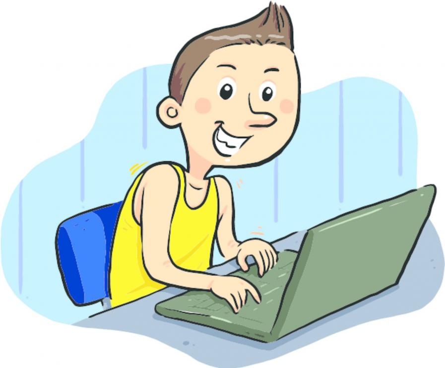 Laptop reading cartoon