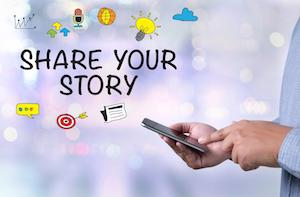 share your story sign with icons