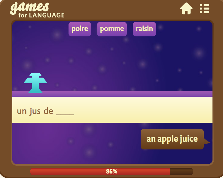 GamesforLanguage French Wordinvaders screenshot