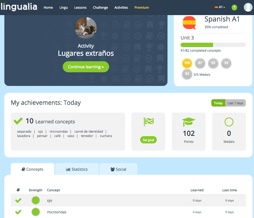 Lingualia dashboard - Gamesforlanguage.com