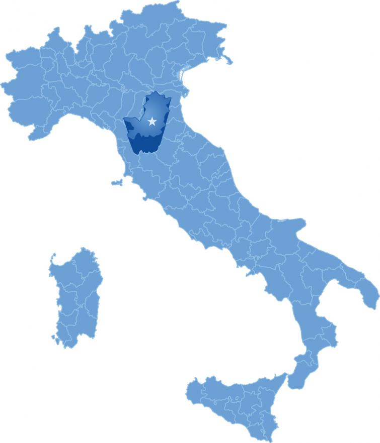 Map of Italy and Tuscany  region