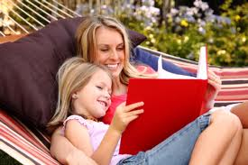 mother reading to young girl