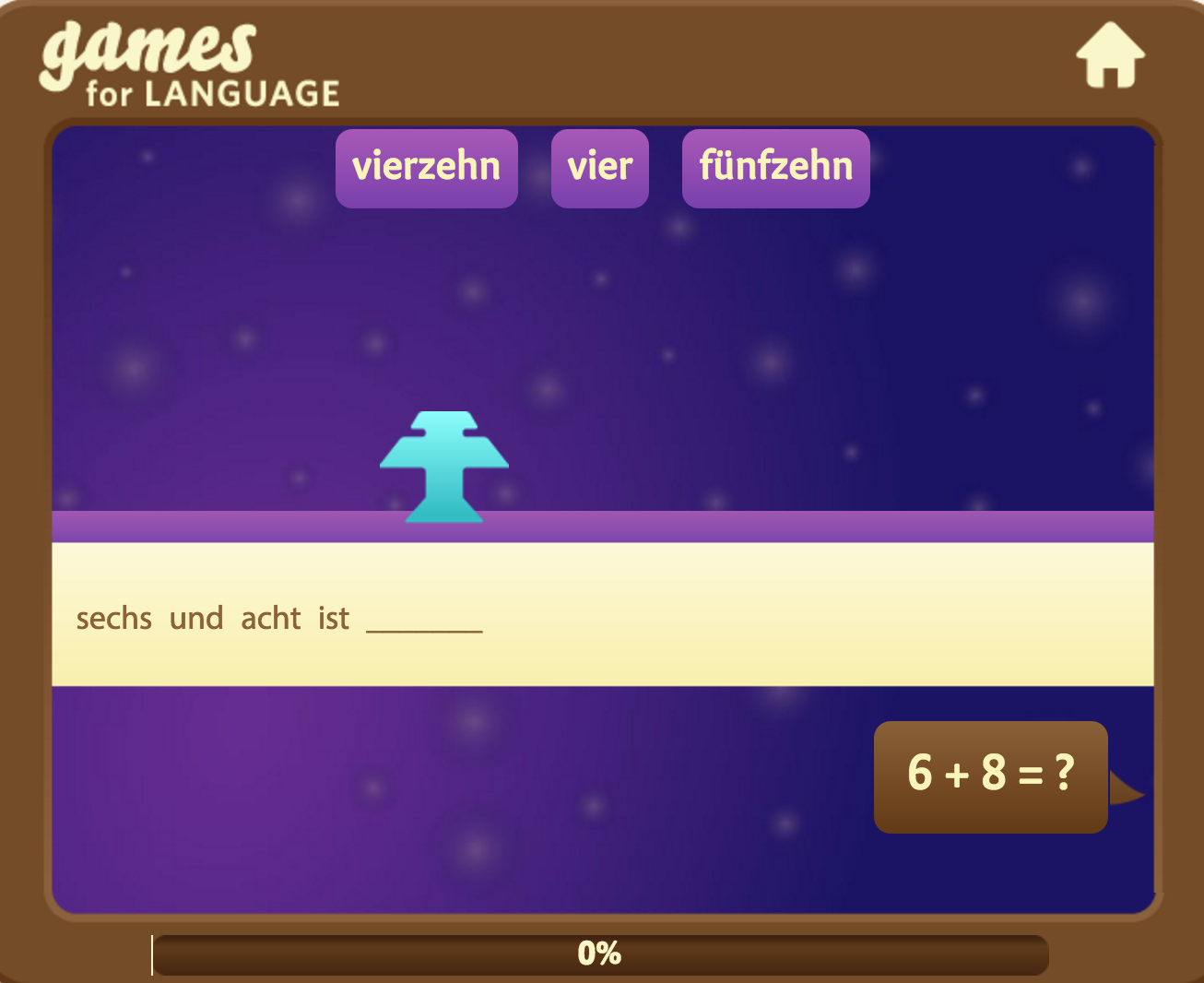 German Numbers Word Invaders Game