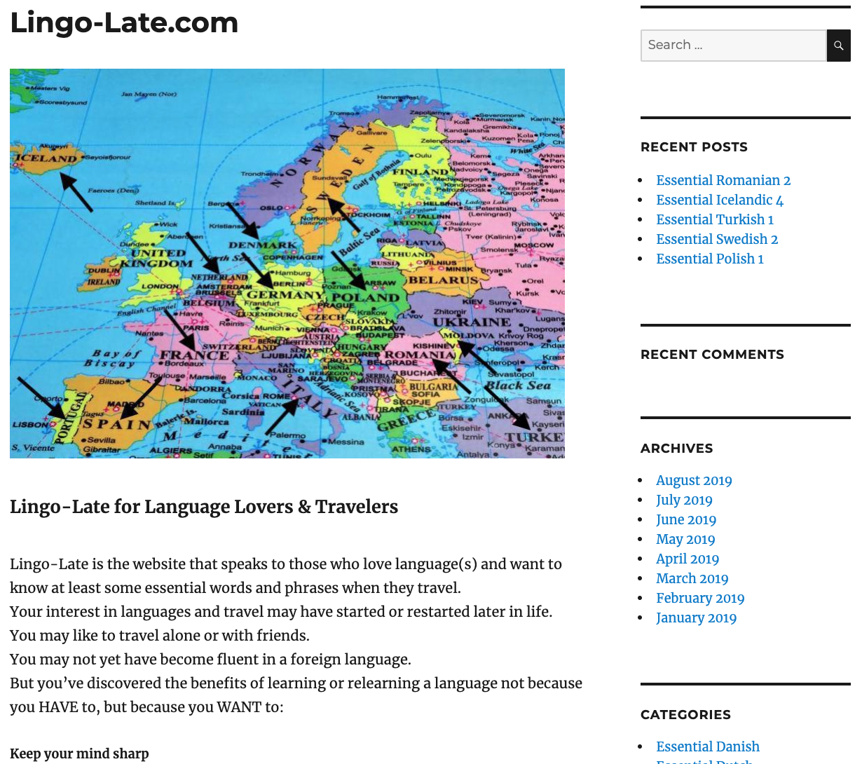 Home page of Lingo-late.com