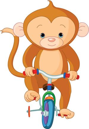 monkey on tricyle cartoon