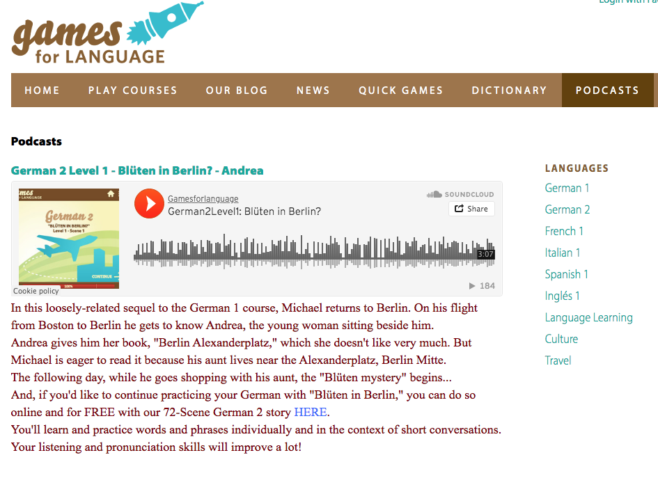 Gamesforlanguage:German 2 Podcast screenshot
