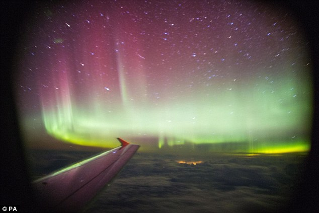 Northern Lights from airplane window