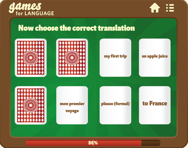 Gamsforlanguage French 1.1 Memory Game screenshot