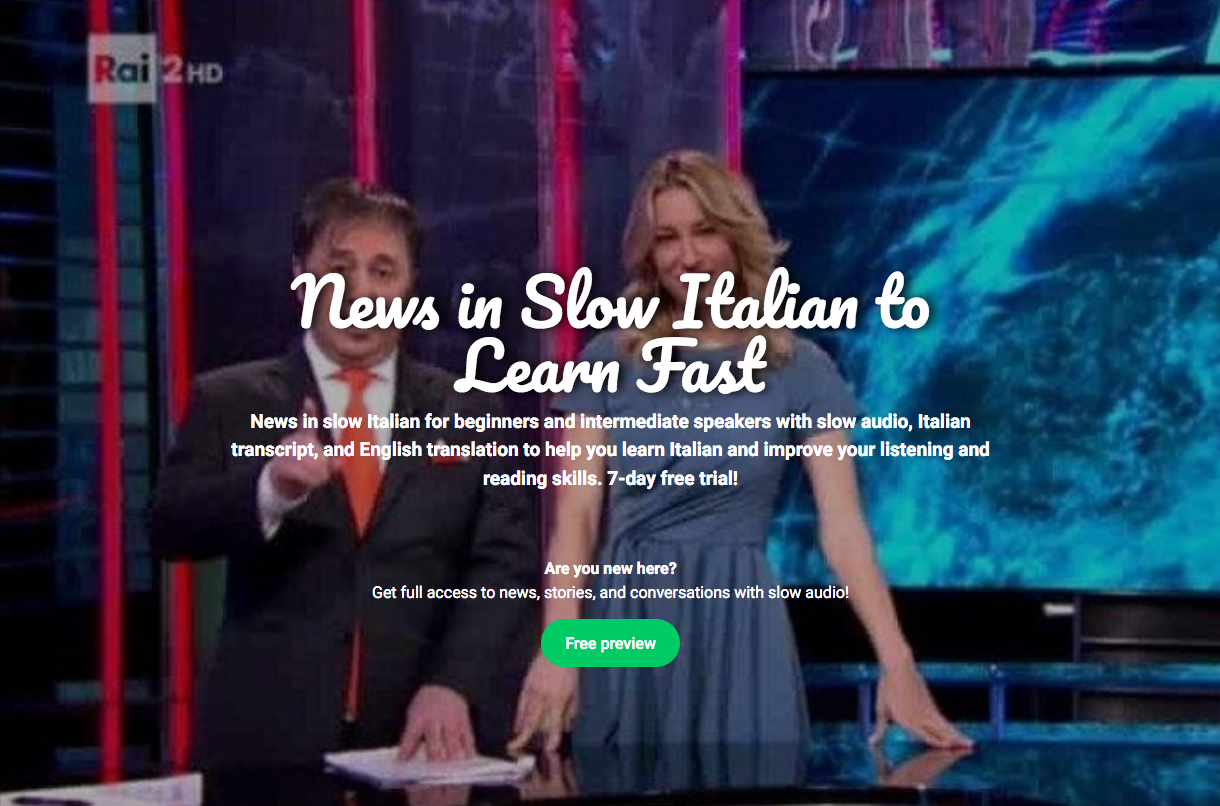 News in slow Italian web page