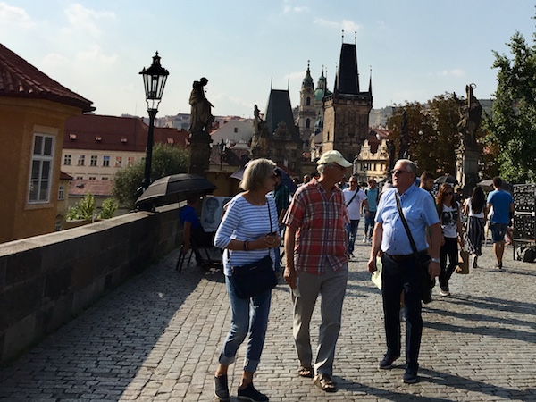 With tour guide Vaclav on Charles Bridge, Prague