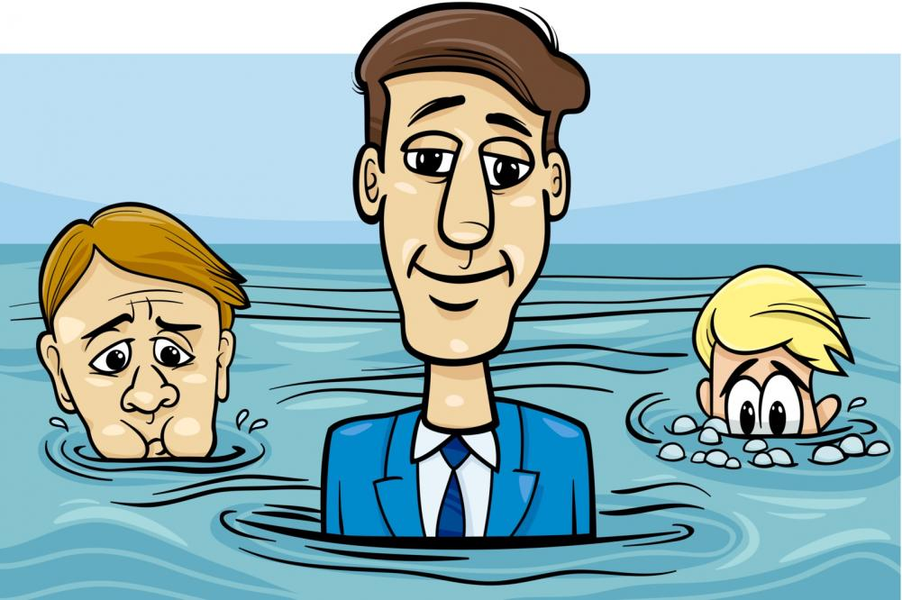 head above water cartoon