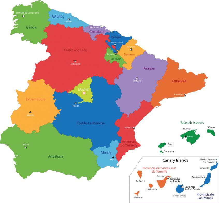 Spain's autonomous areas map -