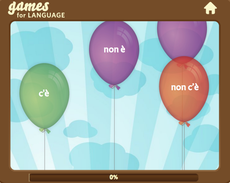 Balloon Listening game - Gamesforlanguage.com