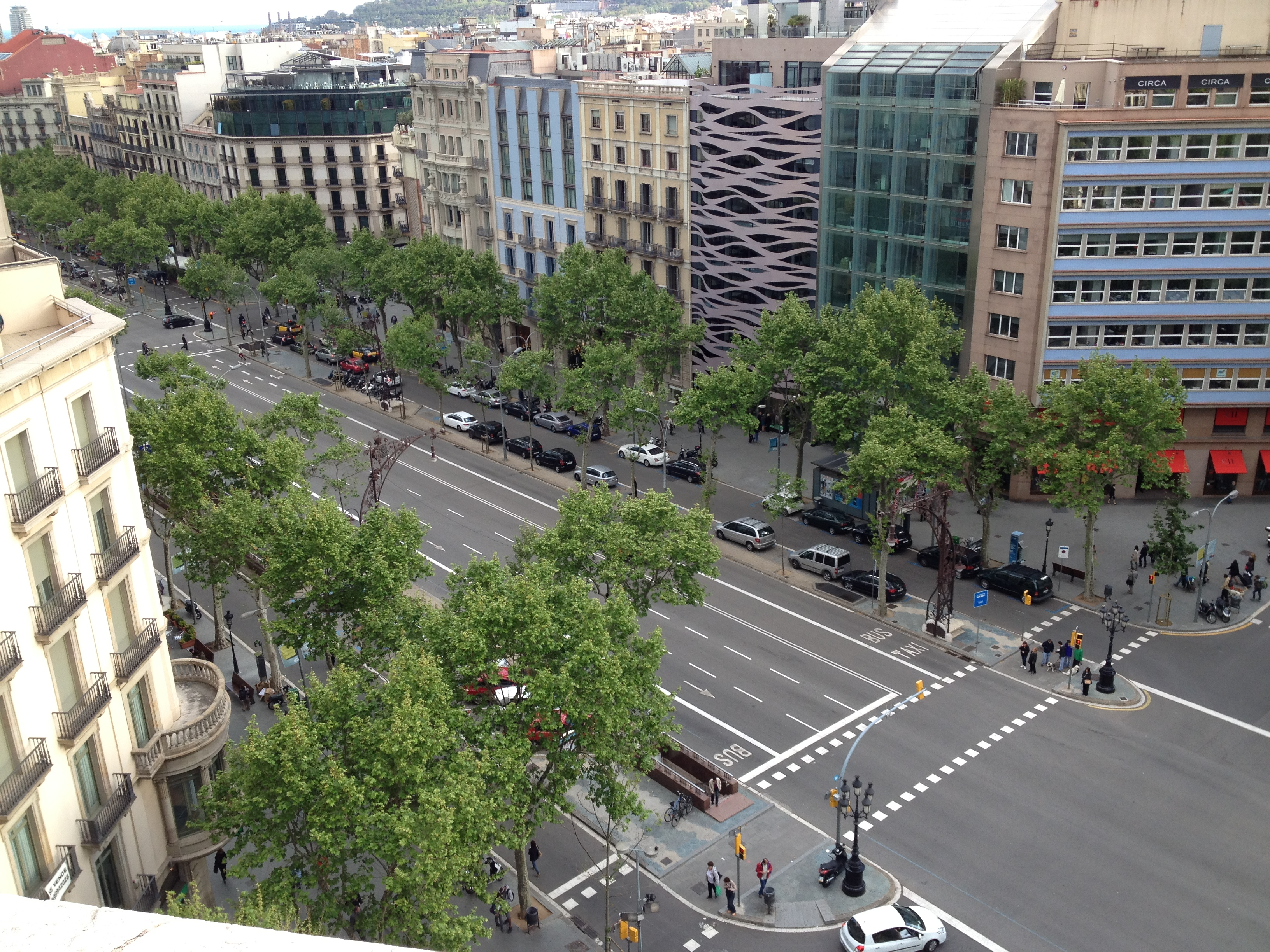 Paseo de Gracia from Predrera Roof