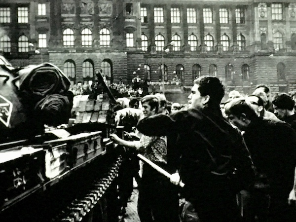 Soviet Tank with students in Prague 1968
