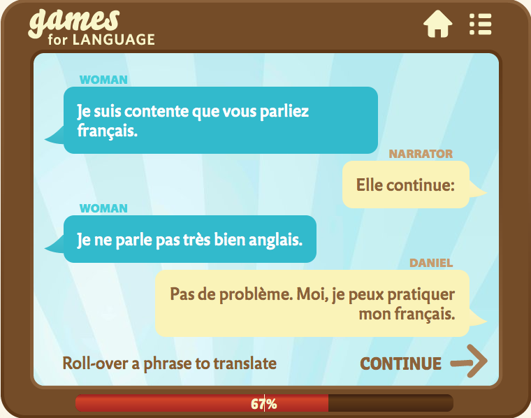 French Dialogue screenshot - Gamesforlanguage.com