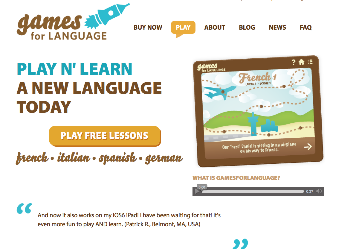 old homepage - Gamesforlanguage